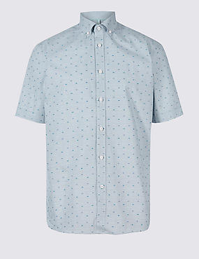 Pure Cotton Spot Textured Shirt