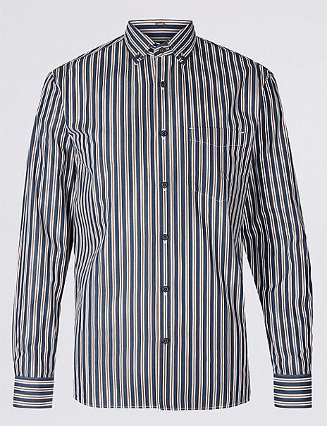Pure Cotton Slim Fit Striped Shirt