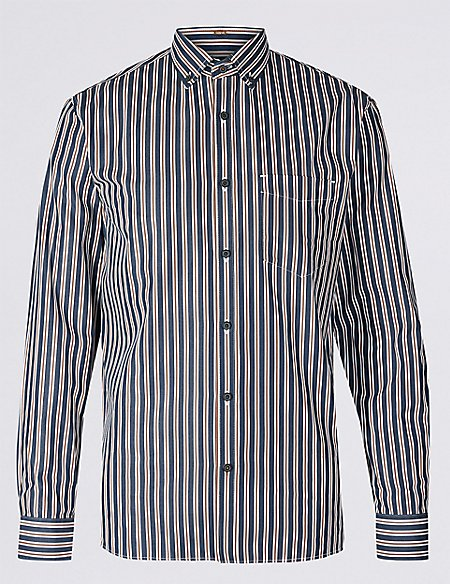 Pure Cotton Slim Fit Striped Shirt