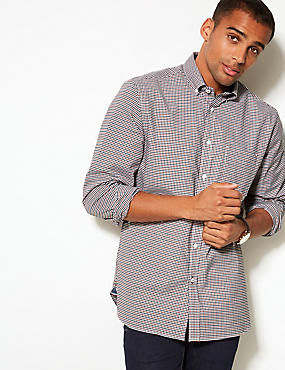 Cotton Rich Checked Oxford Shirt with Pocket, ORANGE MIX, catlanding