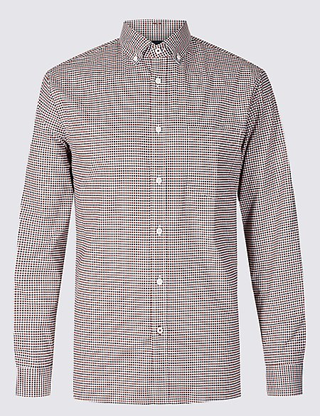 Cotton Rich Slim Fit Checked Oxford Shirt
