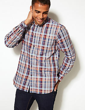 Pure Cotton Checked Oxford Shirt with Pocket