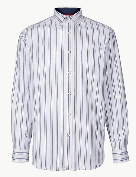 Cotton Rich Striped Shirt with Pocket