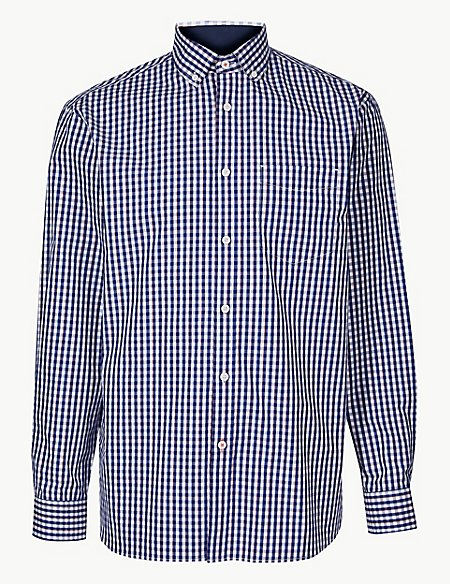 Pure Cotton Checked Shirt with Pocket