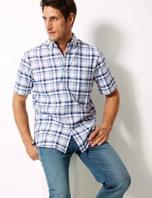 6ca1bae6 Pure Cotton Checked Shirt. Blue Harbour