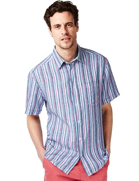 Pure Linen Easy to Iron Multi-Striped Shirt