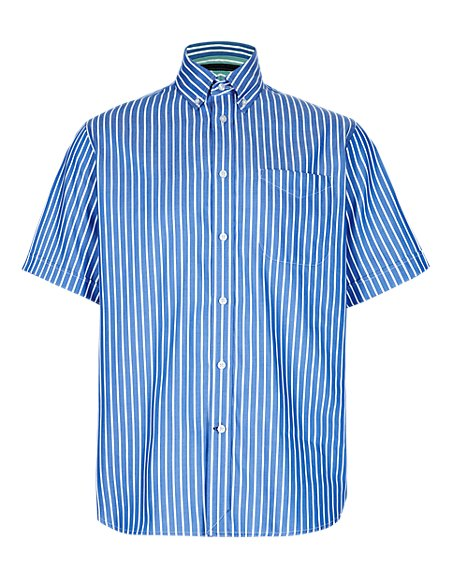 2in Longer Pure Cotton Double Face Striped Shirt