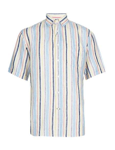 XXXL Pure Linen Varied Striped Shirt