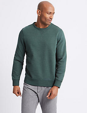 Cotton Rich Crew Neck Regular Fit Sweat, FOREST GREEN, catlanding