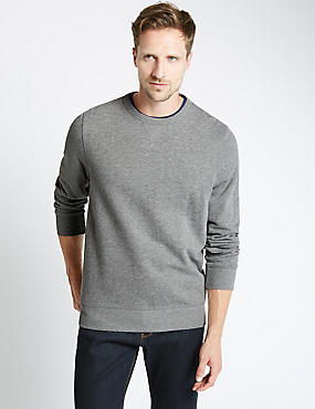 Cotton Rich Crew Neck Regular Fit Sweat, GREY MIX, catlanding