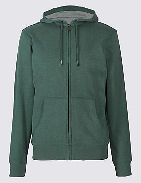 Cotton Rich Regular Fit Zip Through Hoody