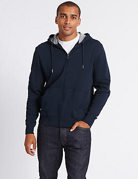 Big & Tall Pure Cotton Hoody, NAVY, catlanding