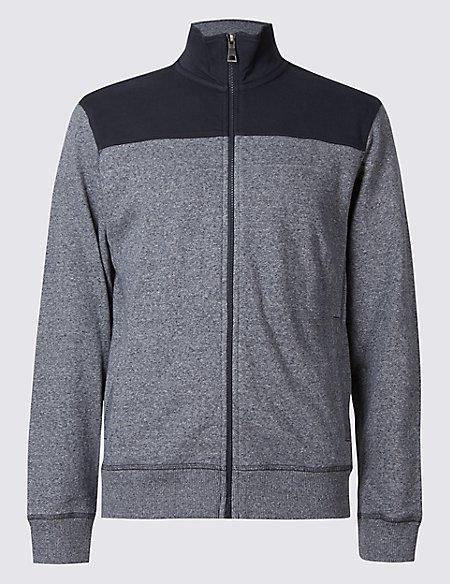 Pure Cotton Zipped Through Sweatshirt