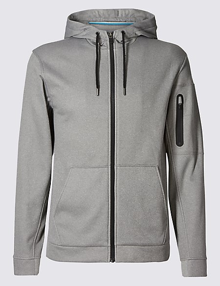 Tailored Fit Textured Hooded Top