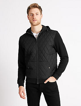 Cotton Rich Quilted Hoody, BLACK, catlanding