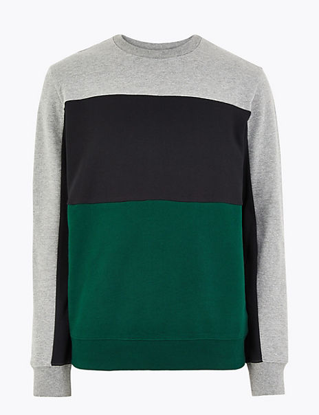 Pure Cotton Colour Block Crew Neck Sweatshirt