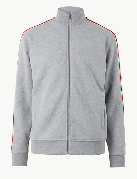Cotton Rich Sweatshirt with Side Stripe