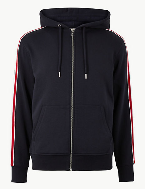 Pure Cotton Hooded Sweatshirt with Side Stripe