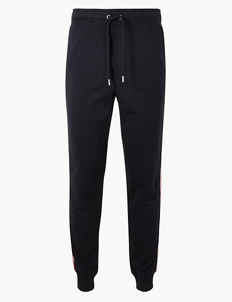 Pure Cotton Cuffed Joggers with Side Stripe