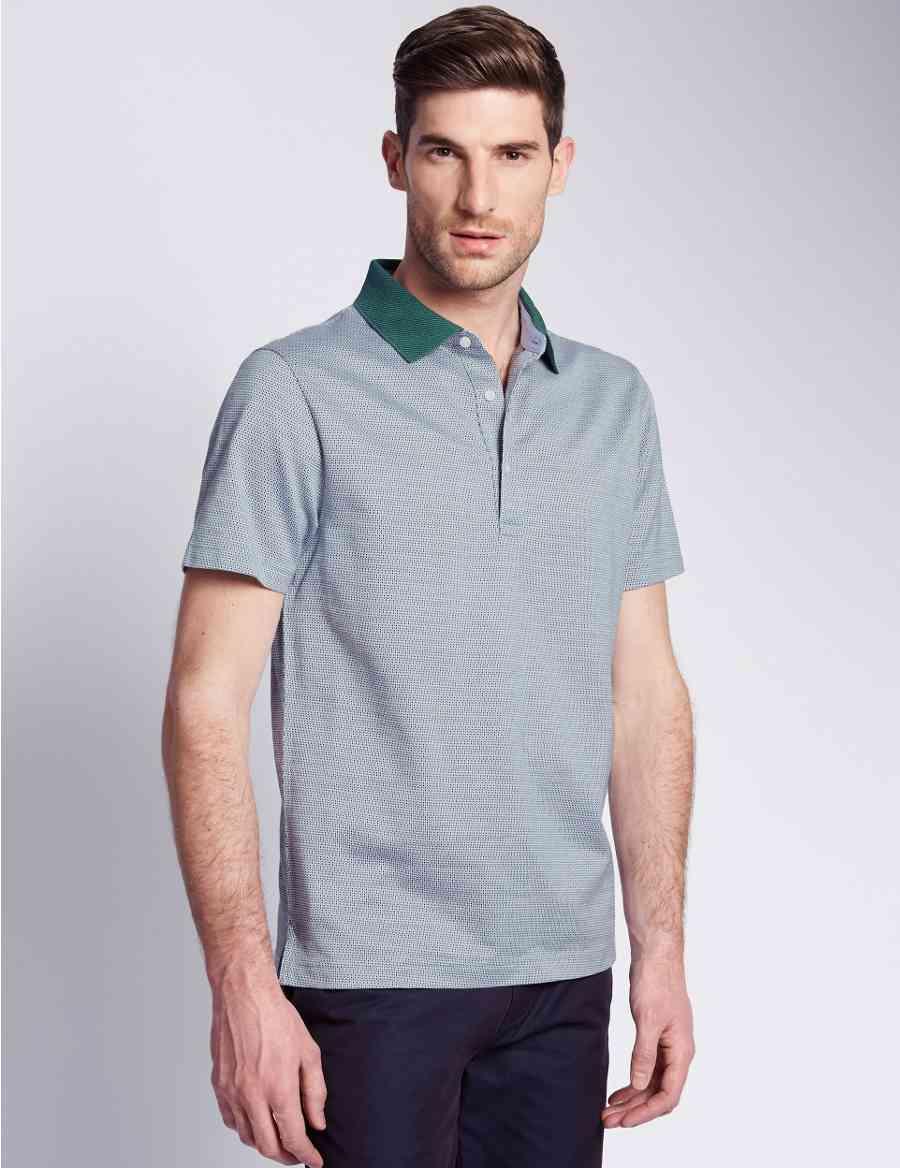 c11f10f5 Pure Cotton Tailored Fit Mercerised Jacquard Polo Shirt | Collezione ...