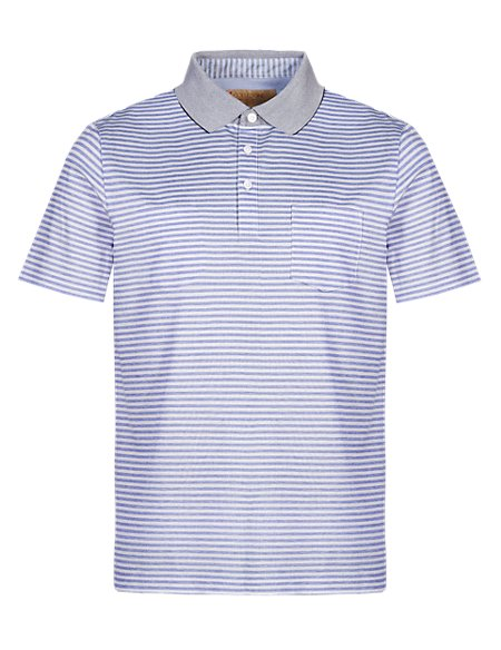 Pure Cotton Tonal Striped Polo Shirt