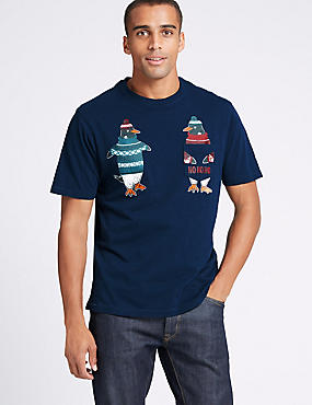 Pure Cotton Penguin Christmas T-Shirt