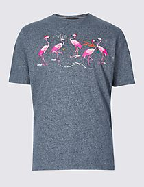 Pure Cotton Flamingo Christmas T-Shirt