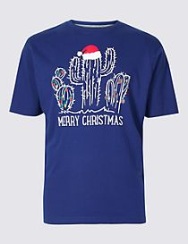 Pure Cotton Cactus Christmas T-Shirt
