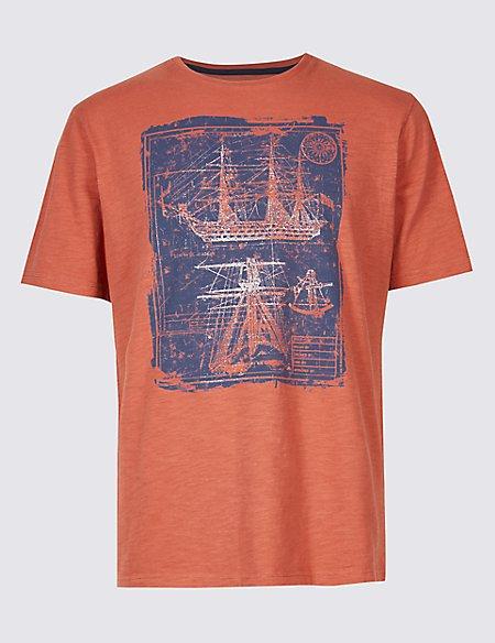 Pure Cotton Boat Design Crew Neck T-Shirt
