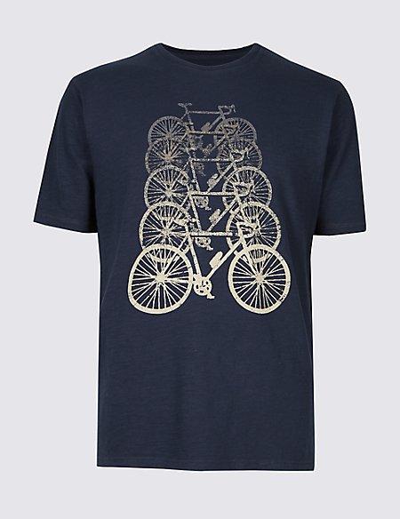 Pure Cotton Bike Design Crew Neck T-Shirt