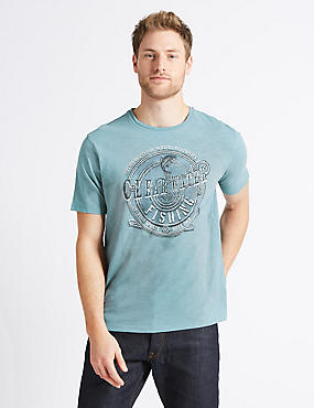 Pure Cotton Printed Crew Neck T-Shirt