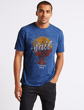 Cotton Blend Printed Crew Neck T-Shirt