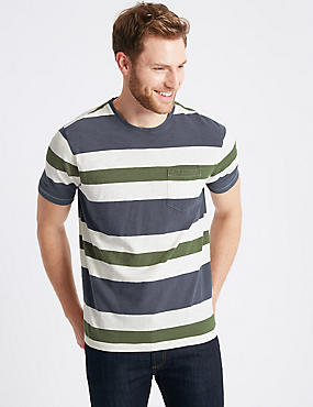Pure Cotton Striped Authentic T-Shirt