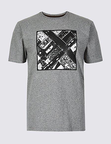 Pure Cotton Printed Crew Neck T-Shirt