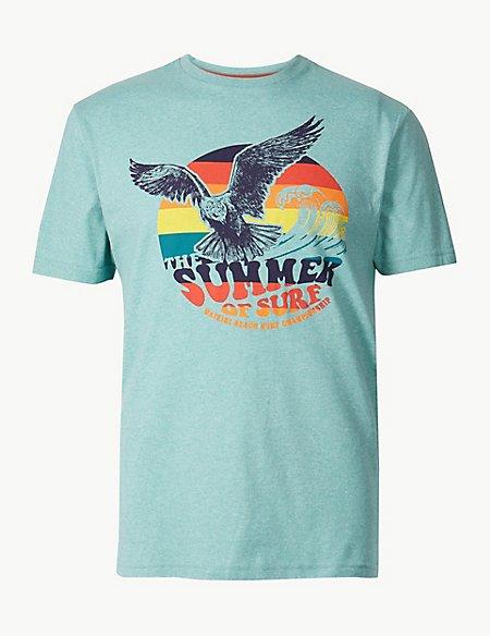Cotton Blend Eagle Print T-Shirt
