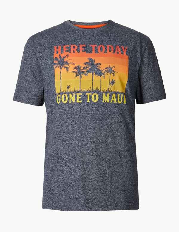 b7b5bb26de0877 Cotton Blend Maui Print Crew Neck T-Shirt