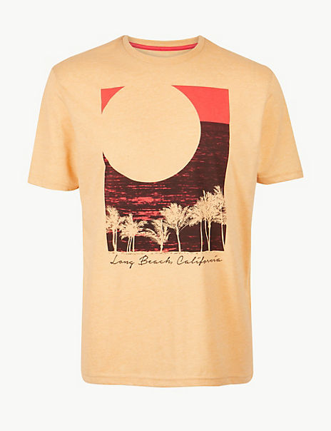 Cotton Blend Sunset Print Crew Neck T-Shirt