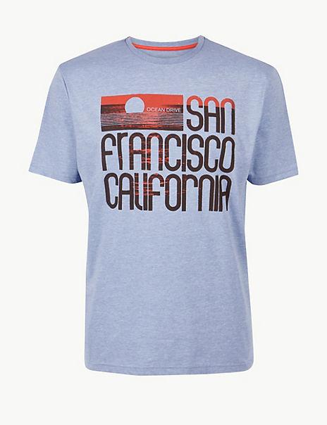 Cotton Blend Printed Crew Neck T-Shirt