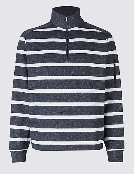 Cotton Rich Striped Half Zipped Sweatshirt