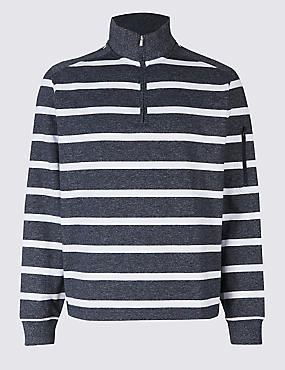Cotton Rich Striped Half Zipped Sweatshirt