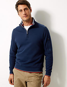 Pure Cotton Half Zip Top
