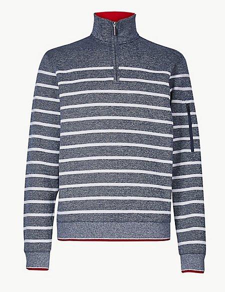 Pure Cotton Striped Half Zip Top