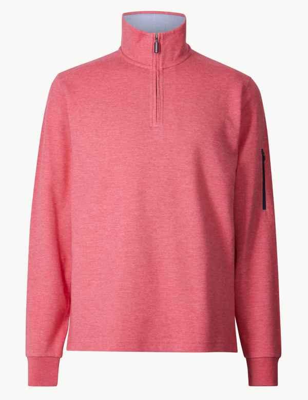 0130c8f52953 Cotton Blend Half Zip Top