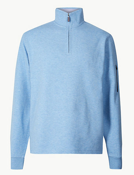 Cotton Blend Half Zip Top