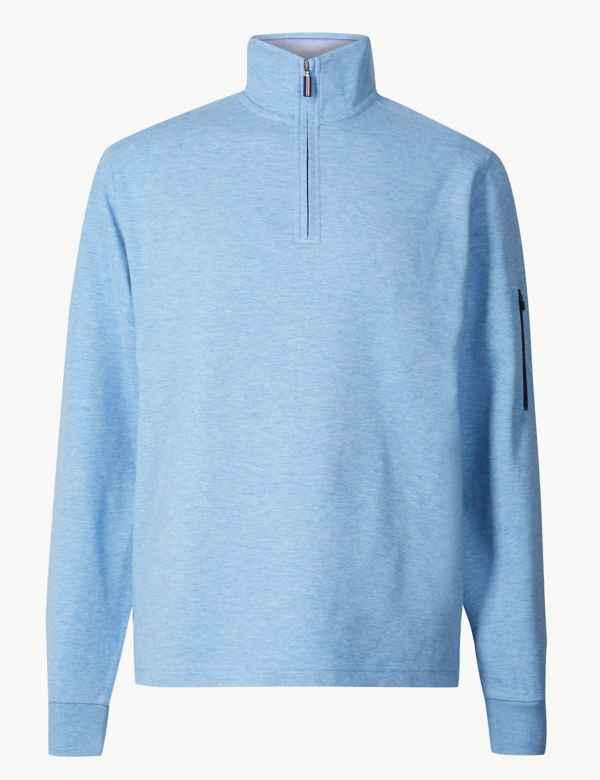 3dd003f3d4143 Cotton Blend Half Zip Top
