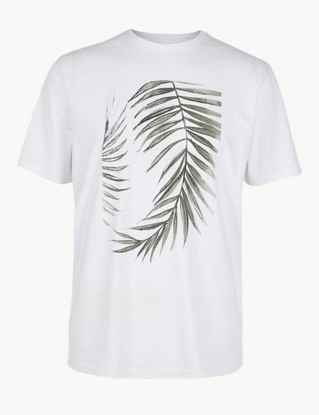 Pure Cotton Leaf Print T-Shirt