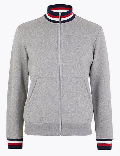 Cotton Rich Zip Through Sweatshirt