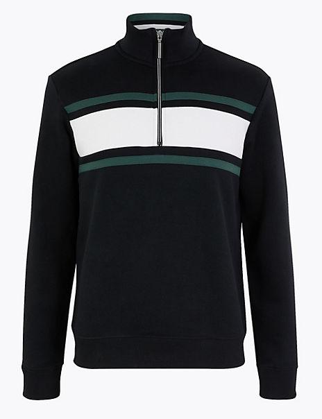 Cotton Rich Half Zip Sweatshirt