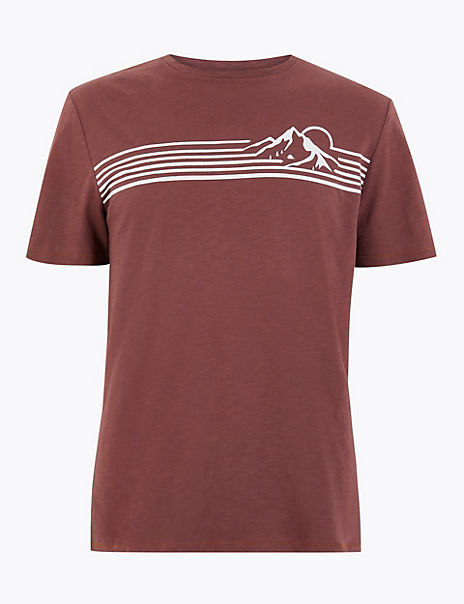 Pure Cotton Chest Stripe T-Shirt