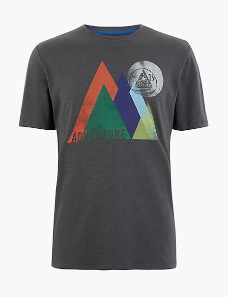 Pure Cotton Mountain Design T-Shirt
